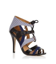 Black and Blue Mixed Material Lace Up Sandals