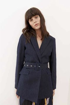 956d1dfaaf7ab Just female Antonino belted dark denim blue blazer