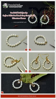 #PandaHall #JewelryMaking #Beads #DIY White #Pearl Beads Hoop #Earrings with #Rhinestone Are you looking for the suitable jewelry to wear at #wedding ceremony? Here I suggest you this pair of pearl beads hoop necklace which is easy to make at home.