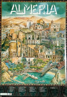 DP Vintage Posters - Almeria Original Spanish Travel Poster City Illustration