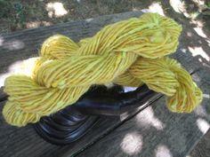 Shades of Yellow: Nep Spun, Hand dyed Merino, Australian Wool, Romney and BFL blend, Nep Spun Art Yarn, 50 yards, hand spun. $12.50. Find me on Etsy!