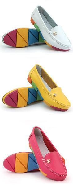 US$13.67 Rainbow Multi-Color Metal Flat Leather Soft Slip On Loafers