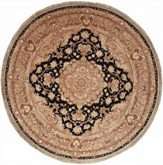 This beautiful Handmade Round rug is approximately 6x6 New Contemporary area rug from our large collection of handmade area rugs with China style from China with Silk & Wool pile.