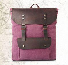 British Backpack Cowhide Leather & Thicken Canvas Rucksack Tide Men Laptop Bag
