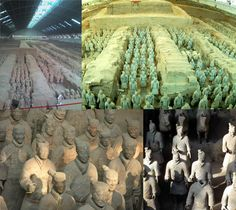 Xi'an, China, famous subterranean Mausoleum of Qinshihuang, the biggest imperial tomb in Chinese history. Best known for these terracotta warriors buried with the emperor.