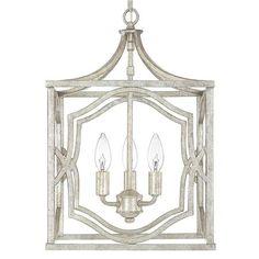 "$279.00  AT SHADES OF LIGHT    Small Modern Fretwork Frame Lantern.  12.25""W x 17.75""H. Antiqued silver"