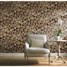 Grandeco Wood Logs Wallpaper - Bring the wonderful woodland into your home. A photo realistic eye catching contemporary wallpaper design that makes a striking statement on the wall.