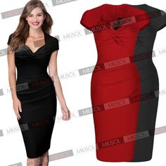 Womens Business Wear to Work Vintage Cocktail Party Pleated Sexy Pencil Dresses | eBay
