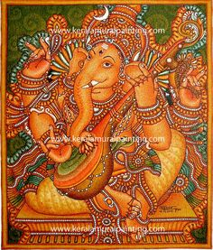 Indian Traditional Paintings, Indian Paintings, Mural Art, Murals, Kerala Mural Painting, Indian Gods, Gods And Goddesses, Ganesha, Mythology