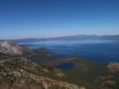 Lake Tahoe with Rim Fire smoke in distance