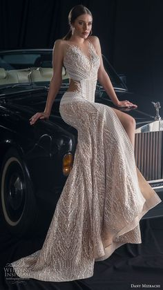 dany mizrachi fall 2018 bridal sleeveless sheer jewel sweetheart neckline full embellishment slit skirt glamorous sexy fit and flare wedding dress keyhole back sweep train (8) mv #weddingdress