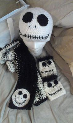 JACK Nightmare before christmas scarf, hat, and fingerless gloves......find me at www.facebook.com/ANGIEANGScrocheting