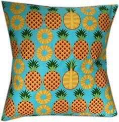 Designer retro 50's yellow pineapple turquoise cocktail fruit cushion cover   eBay