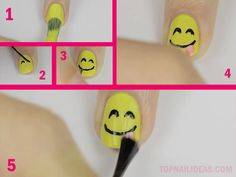 Happy face with the tongue stuck out, emoji nail art
