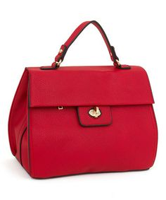 Red Fold-Over Satchel