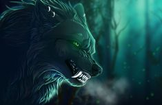 Direwolf digital wallpaper, fantasy art, creature, artwork, green eyes