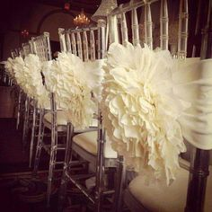 IVORY or White Flower chair cover for chiavari chair. Peony flower/ mum flower…