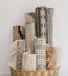 Rolled up rugs as decor. Love it!