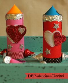 Kids DIY Valentines Rocket. Perfect craft for the boys this valentines!  #valentines #craft