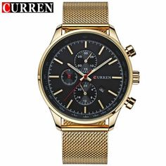 CURREN Luxury Brand Quartz Watch Men's Sport Casual Business Stainless Steel Mesh band Quartz-Watch Fashion Gold Clock male Date