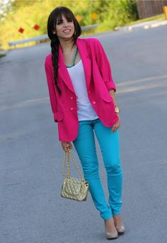 Pink, White, Blue, Nude Outfit ---  Color Blocking