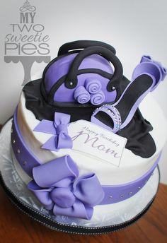 Birthday cake for mom, heel and handbag