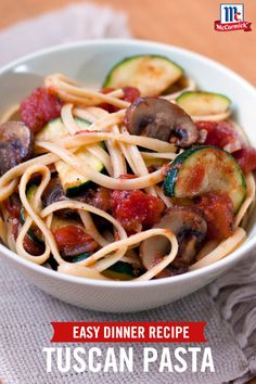 Looking for a new way to use up leftover veggies? Fresh garden vegetables and pasta are tossed with a chunky tomato sauce with zesty herbs for a light, easy weeknight dinner recipe.