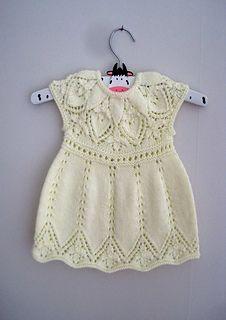 Ravelry: Annie Dress pattern by Suzie Sparkles. Baby dress knitting pattern, girls dress knit pattern, top down knitting, seamless knitting, one piece.
