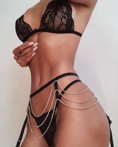 Sexy lace lingerie set with chain and straps. Lingerie Bonita, Jolie Lingerie, Lace Lingerie Set, Pretty Lingerie, Beautiful Lingerie, Sexy Lingerie, Sexy Outfits, Lingerie Outfits, Cute Outfits