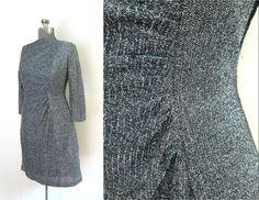 Black Silver Lame Dress // Long Sleeve Ruched by rileybellavintage