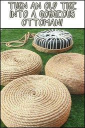 Old tires are hard to get rid of. The solution? Make her an Ottoman! Old tires are hard to get rid of. The solution? Make it an Ottoman !, Old tires are hard to get rid of. The solution? Make her an Ottoman! Old tires are hard to get rid … Tire Ottoman, Chair And Ottoman Set, Diy Garden, Garden Projects, Diy Projects, Garden Ideas, Project Ideas, Garden Club, Garden Tips