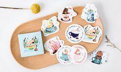 45 Pcs Animal Cups Sticker, Animals in Cups Sticker Flakes, Teacup Filofax Stickers, Scrapbook, Coffee Schedule Sticker, Deer, Pig, Dog, Cat