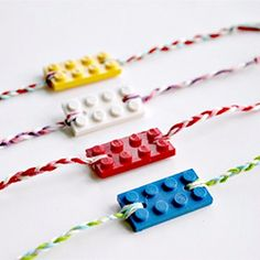 Great idea for upcoming V-Day classroom parties.  And on the heels of the new Lego movie.  LEGO friendship bracelets.