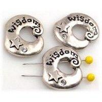 3 pewter Wisdom 2 hole slider beads 10110