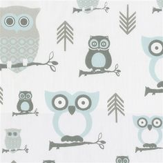 Mist and Gray Owls Mini Crib Sheet | Carousel Designs