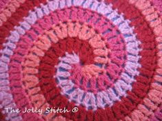 Spiral crochet stitch. Pattern is for a cushion, could easily be converted into blanket or hat.