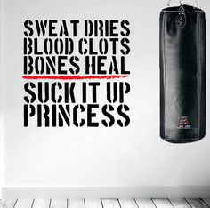 Sweat Dries Wall Decal Quote Muay Thai Boxing Gym Training Kickboxing Workout #DesignDivil