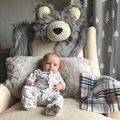 This little guy it getting so big! He loves his gray grizzly bear! Makes a great photo prop for milestone pics! . . . #claraloo #nursery #nurserydecor #greynursery #projectnursery #woodlandnursery #bearrug #etsy #etsyshop #smallshoplove #smallshop #nurseryinspo #nurseryinspiration #nurseryideas #woodland #woodlandanimals #mountainnursery #mountainnurserydecor #woodlandtheme #nurseryroom #nurserydesign #kidsroom #kidsroominspo #kidsroomdecor #kidsroomideas #paisleyprintsspokane