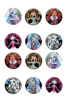 "Monster High 1"" Bottle Cap Images, Print your own bottle caps, Bottle Caps for Bows"