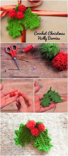Crochet Christmas Holly Berries – Late Night Crafting by gay Crochet Christmas Ornaments, Christmas Knitting, Crochet Snowflakes, Crochet Motif, Crochet Flowers, Christmas Projects, Holiday Crafts, Holiday Crochet Patterns, Confection Au Crochet