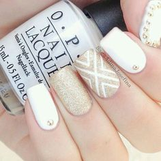 stunning gold and white nail design