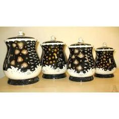 Black And White Kitchen Canister Sets | Black Abstract Design Kitchen  Canister Set: Home U0026