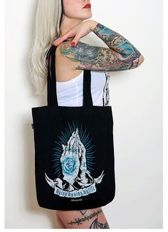 Black Tote Bag  Praying Hands Old School Tattoo by HeartbeatInk