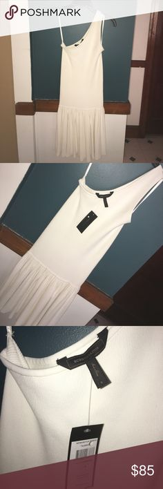 NWT BCBG Aleshia One Shoulder Dress BRAND NEW WITH TAG BCBG MAXAZRIA ALESHIA  ONE SHOULDER FLOUNCE KNIT DRESS, SZ SMALL COLOR: Gardenia  THICK, MEDIUM WEIGHT AND STRETCHY.  78% RAYON/21% NYLON/3% SPANDEX  FIT TRUE TO SIZE. Like a glove actually.   SHOULDER TO HEM=33 BCBGMaxAzria Dresses One Shoulder