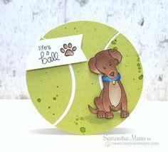 Labrador Dog Tennis Ball Birthday Card by Samantha Mann | Fetching Friendship Stamp set by Newton's Nook Designs