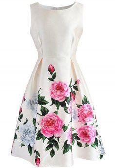 Retro Dresses Retro Felicitous Peony Printed Dress - Retro, Indie and Unique Fashion - Mini Slip Dress, White Mini Dress, Pretty Dresses, Beautiful Dresses, Retro Dress, Dress Patterns, Pattern Dress, Short Dresses, Slip Dresses