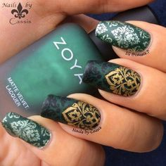 Nails by Cassis: Green Damask Stamping Mani