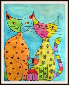 abstract katz: draw, paint with watercolors, let dry, then outline all details with black marker