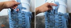 You don't know  what to do with  your old  denims?  Here is an idea  for recycling them.  It's easy  but  takes a little  time .   No sabes ...