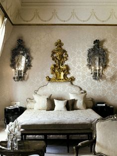 romantische schlafzimmer einrichtung prächtige Wandspiegel mit Kerzen